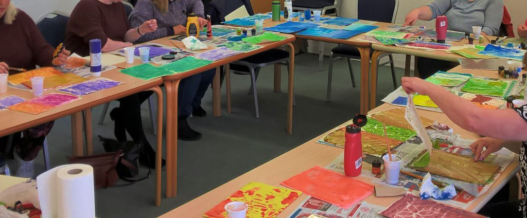 Printmaking workshop in progress